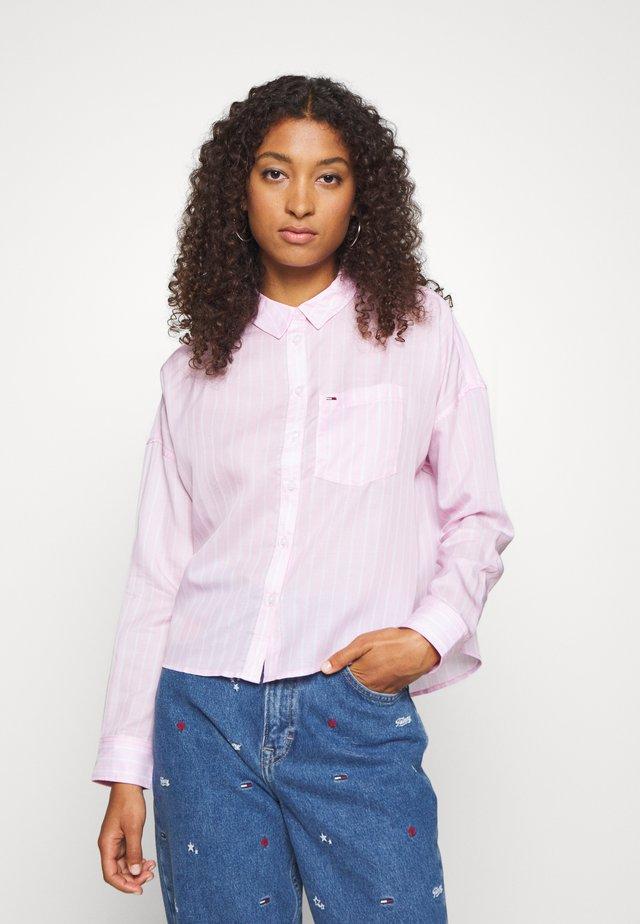 BOLD STRIPE - Button-down blouse - romantic pink/white