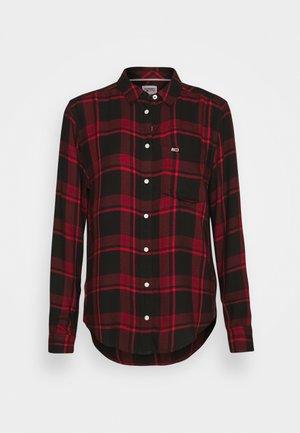 FLUID CHECK - Button-down blouse - dark red/black