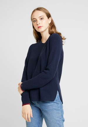 SIDE SLIT CREW - Jumper - black iris