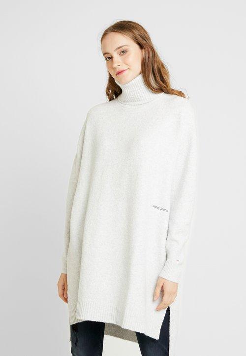 Tommy Jeans TURTLE NECK SPLIT - Sweter - pale grey Odzież Damska PTRU-XM7 trwałe modelowanie