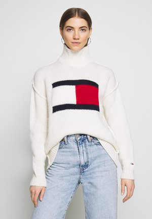 TJW TOMMY FLAG SWEATER - Svetr - snow white