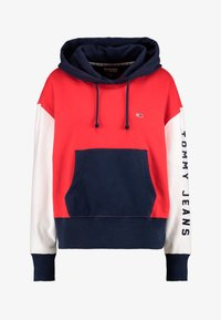 Tommy Jeans - CONTRAST SLEEVE LOGO HOODIE - Hoodie - flame scarlet/classic white - 4