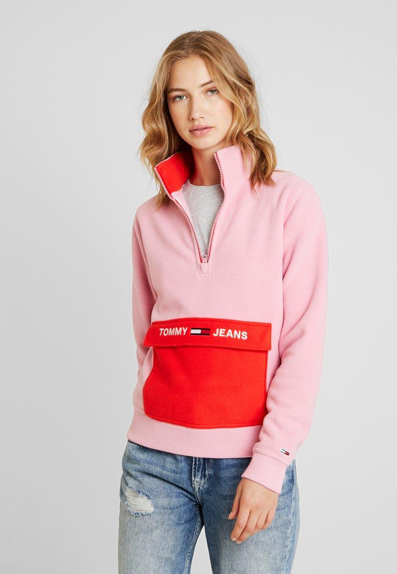 Tommy Jeans - COLORBLOCK POLAR HALF ZIP - Fleecová mikina - sea pink
