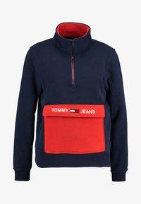 Tommy Jeans - COLORBLOCK POLAR HALF ZIP - Fleecegenser - black iris/multi - 4