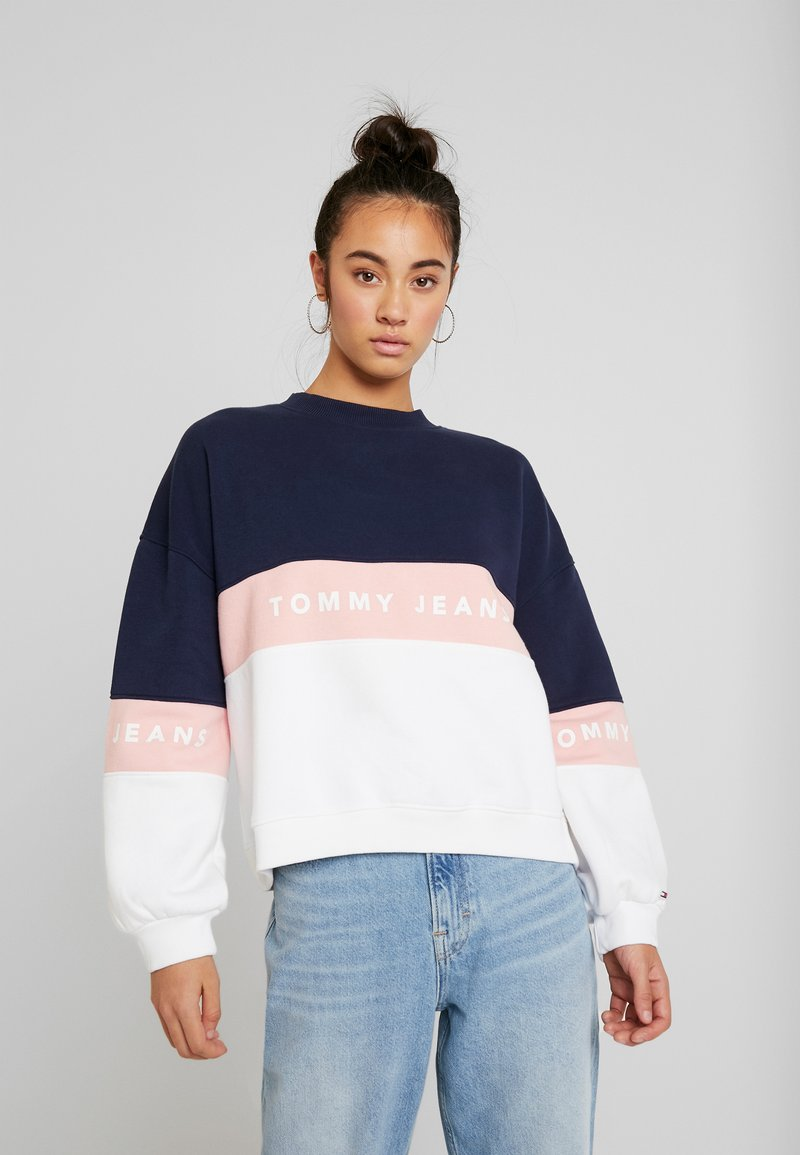 Tommy Jeans - COLORBLOCK CREW - Sweatshirt - classic white/multi