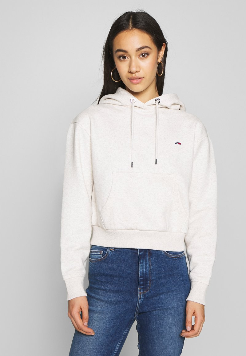 Tommy Jeans - CONTRAST BACK LOGO HOODIE - Hoodie - oatmeal heather / pink icing