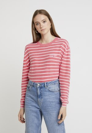 WASHED STRIPED - Jumper - claret red/classic white