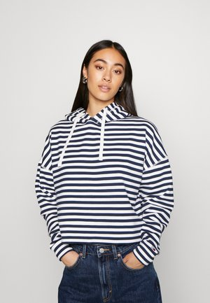 STRIPE HOODIE - Hoodie - twilight navy / white