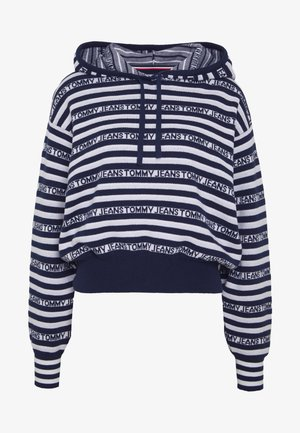 STRIPE HOODIE - Mikina s kapucí - twilight navy / classic white