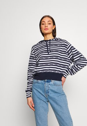 STRIPE HOODIE - Bluza z kapturem - twilight navy / classic white