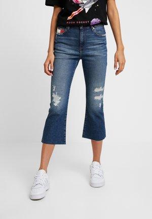 CROP - Flared jeans - blue denim