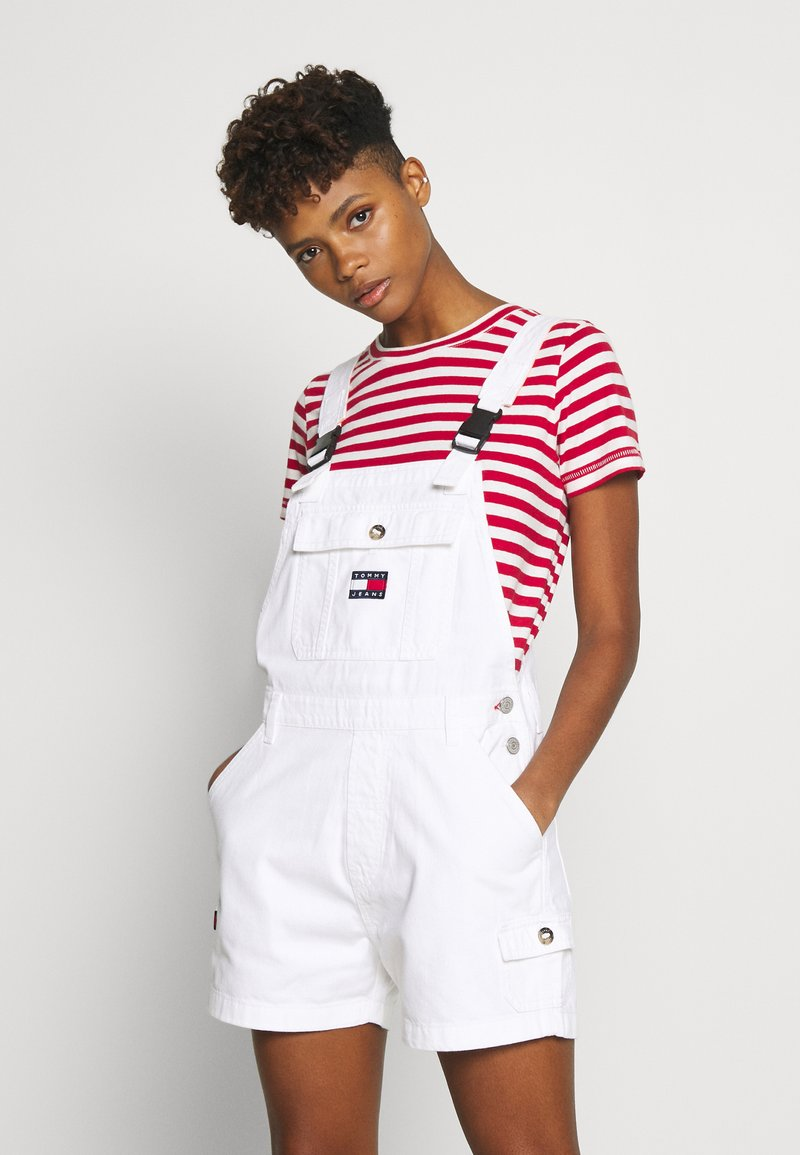 Tommy Jeans - DUNGAREE SHORT - Dungarees - classic white