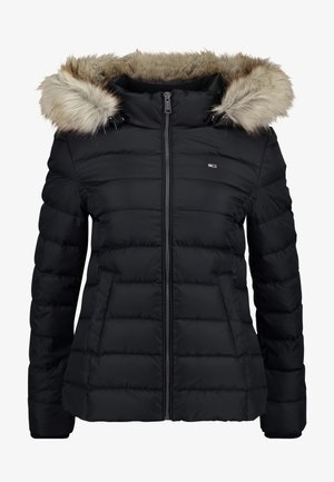 ESSENTIAL HOODED JACKET - Chaqueta de plumas - tommy black