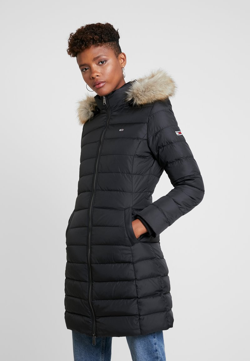 Tommy Jeans - ESSENTIAL HOODED COAT - Dunkåpe / -frakk - black