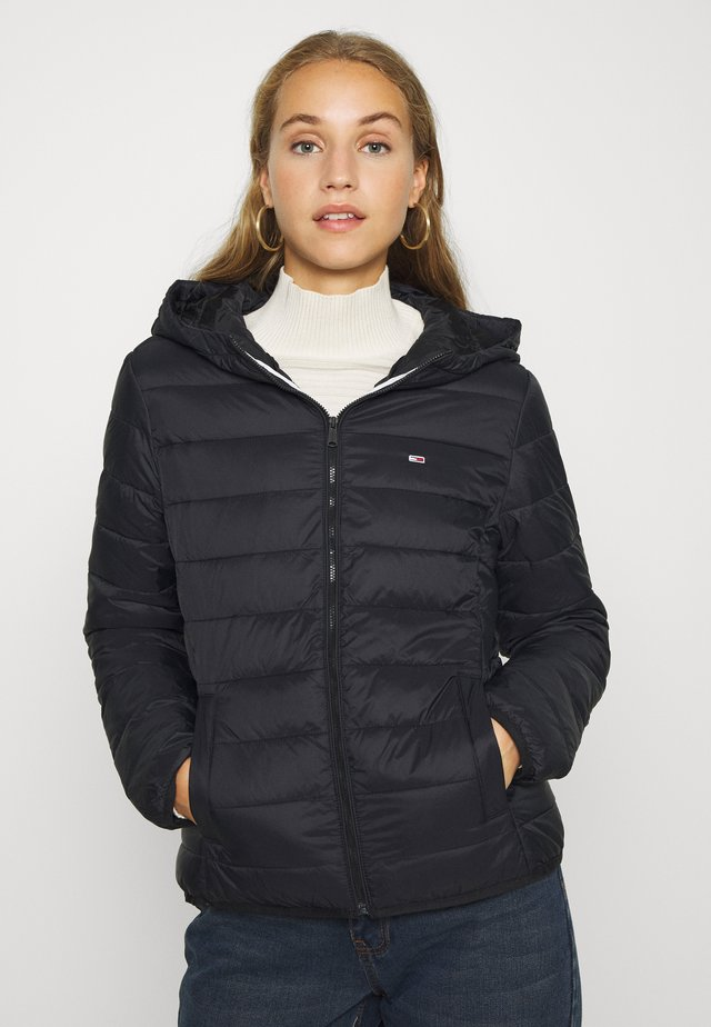 HOODED QUILTED ZIP - Light jacket - black