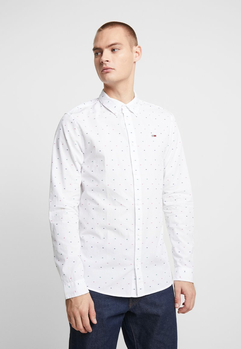 Tommy Jeans - COLORED DOBBY POPLIN  - Overhemd - classic white/multi-coloured