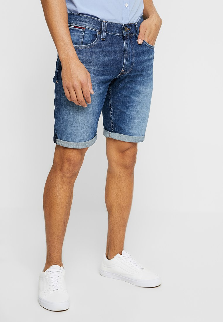 Tommy Jeans - RONNIE SHORT  - Denim shorts - dark blue denim