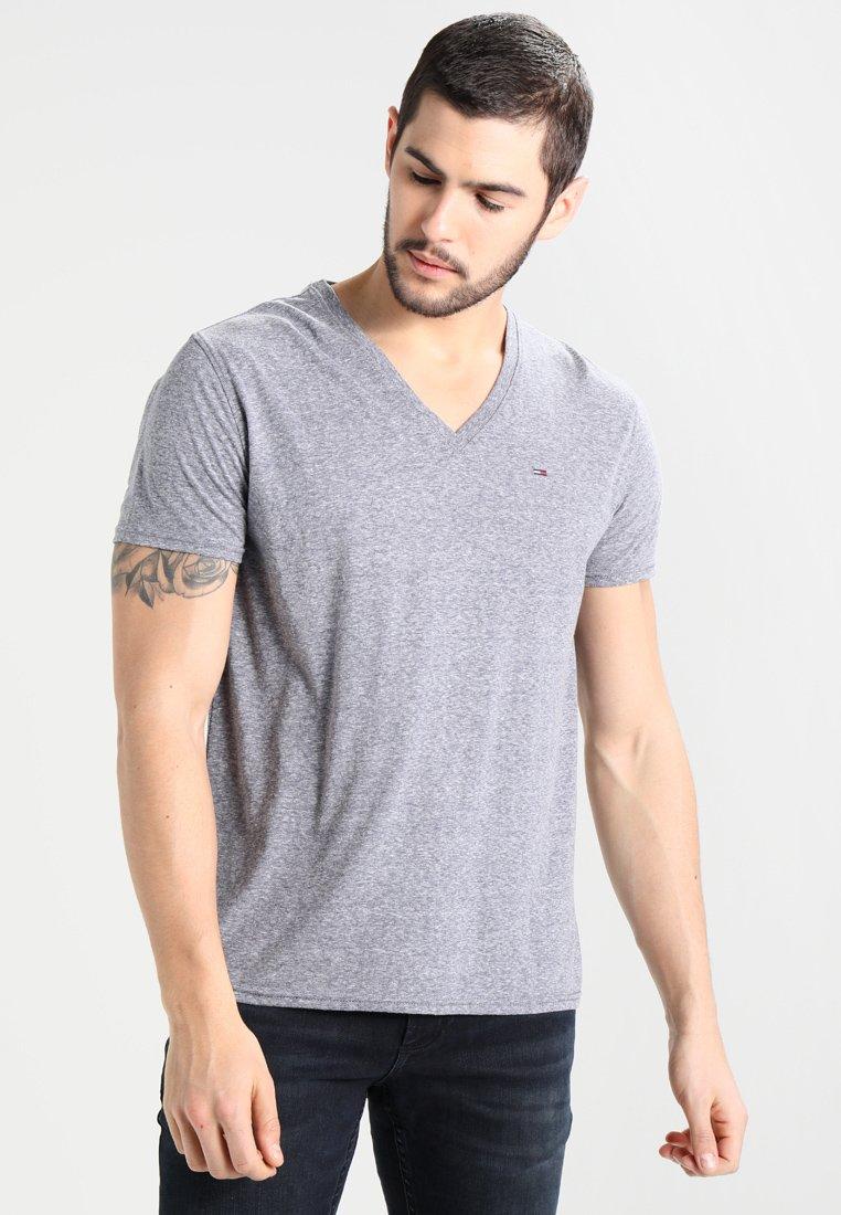 Tommy Jeans - ORIGINAL TRIBLEND V-NECK TEE REGULAR FIT - Basic T-shirt - black iris