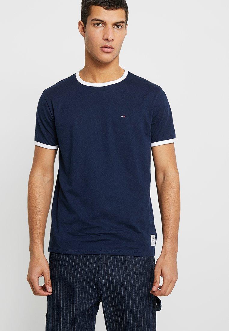 Tommy Jeans - RINGER TEE - Print T-shirt - black iris/classic white