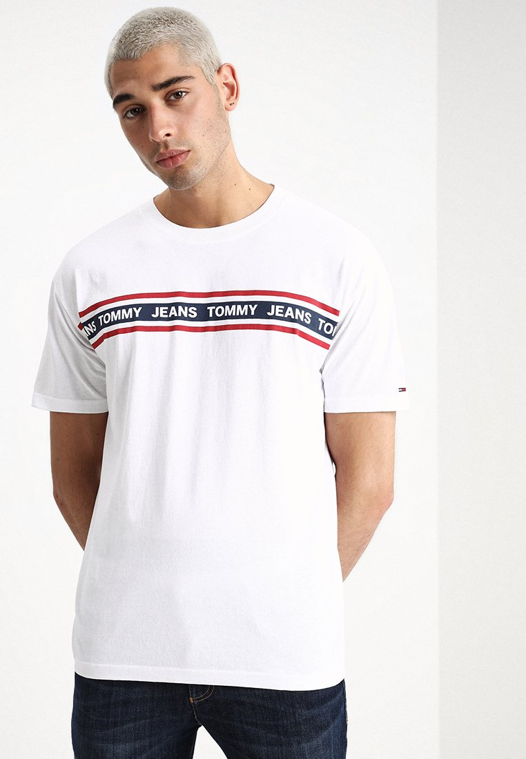 Tommy Jeans - ESSENTIAL TAPE TEE - T-Shirt print - white