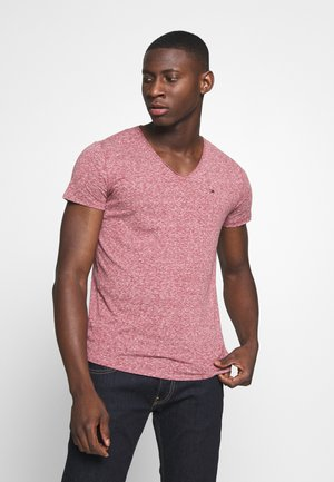 BASIC VNECK TEE SLIM FIT - T-shirt print - wine red