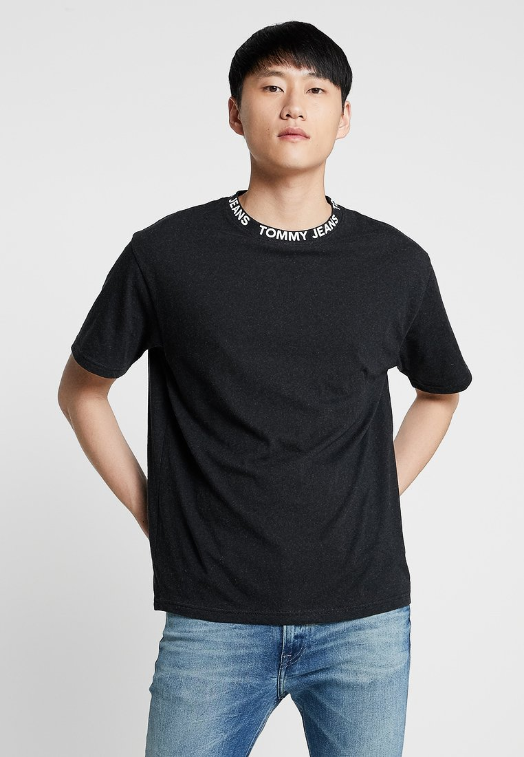 Tommy Jeans - HEATHER BRANDED COLLAR TEE - T-Shirt basic - black