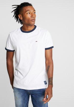 SOLID RINGER TEE - T-shirt imprimé - classic white/ dark blue