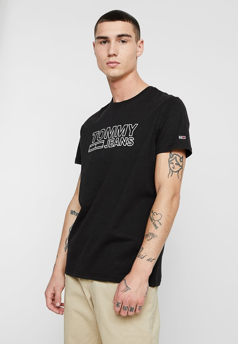 Tommy Jeans - CONTOURED CORP LOGO TEE - T-shirts med print - black