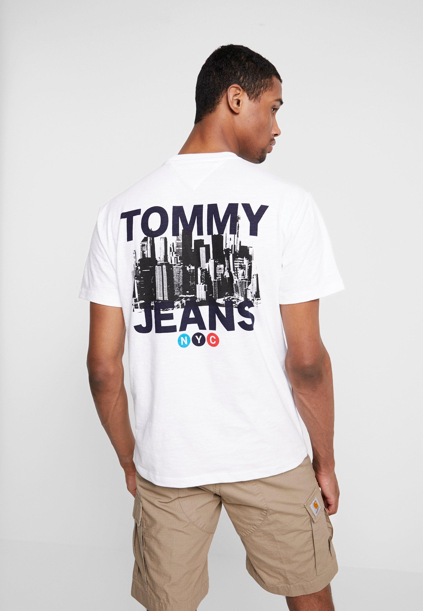 Tommy White Train Imprimé TeeT Photo Jeans shirt fgY67yb