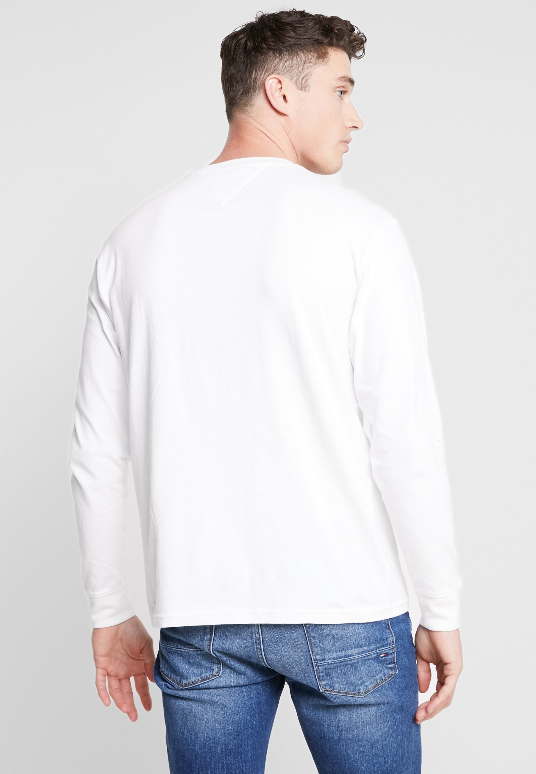 Sleeve Tommy Manches TeeT White Jeans shirt Longues À Corp Contoured If6gvYb7y
