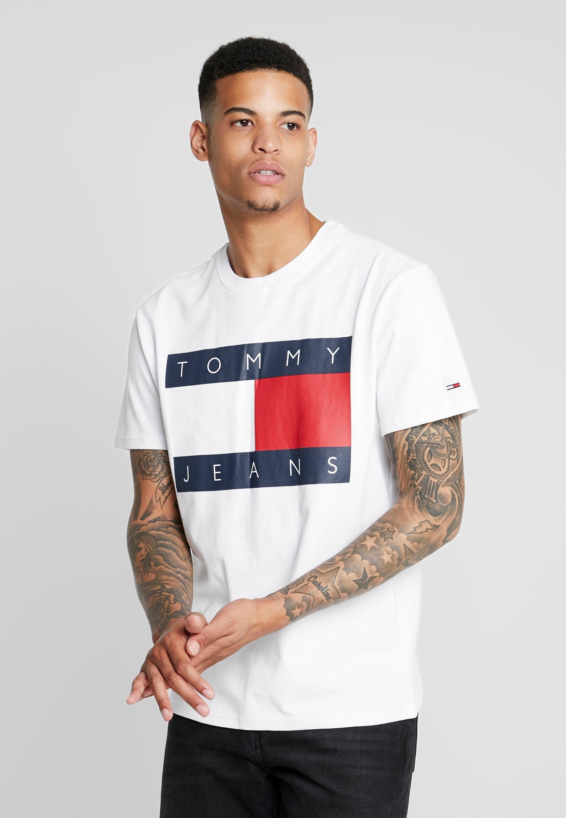 Flag Imprimé White Tommy TeeT shirt Jeans Classic 3jA54LRq