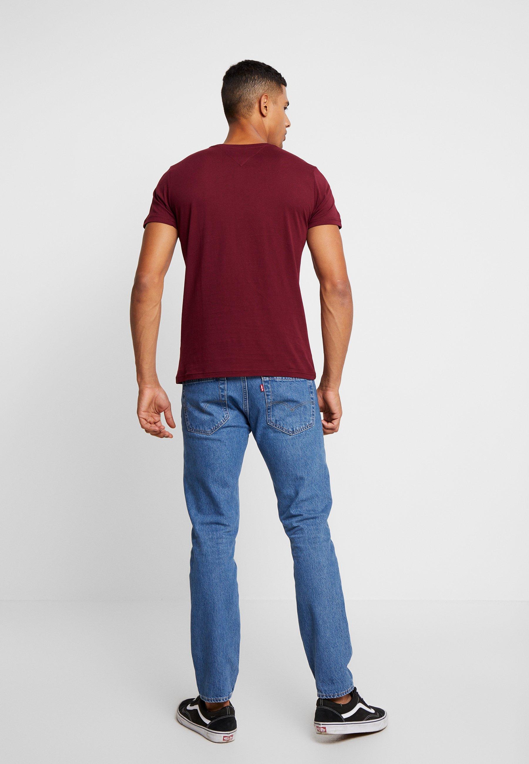 Logo Imprimé shirt Jeans Tommy Script TeeT Burgundy nwO80Pk