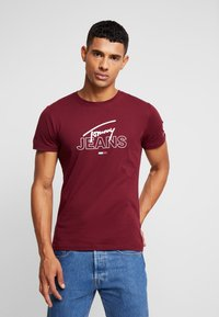 Tommy Jeans - SCRIPT LOGO TEE - Printtipaita - burgundy - 0