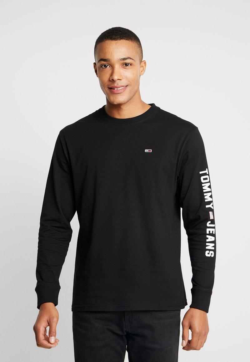 Tommy Jeans - LONGSLEEVE US FLAG TEE - Maglietta a manica lunga - tommy black