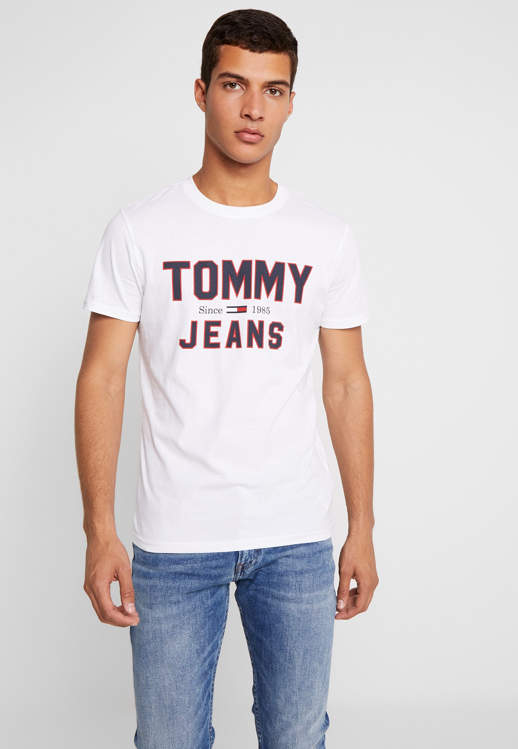 Classic Imprimé 1985 Jeans Logo TeeT shirt Tommy White Essential Yfy6bv7g