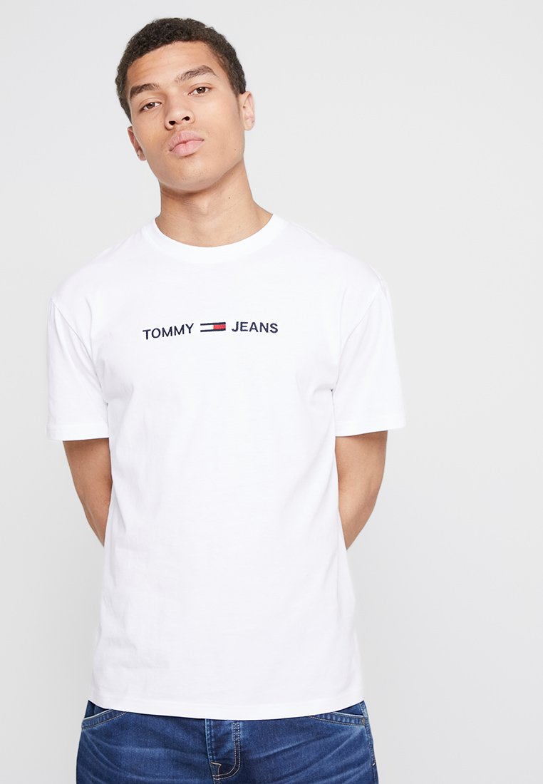 Tommy Jeans - SMALL LOGO TEE - T-Shirt print - classic white