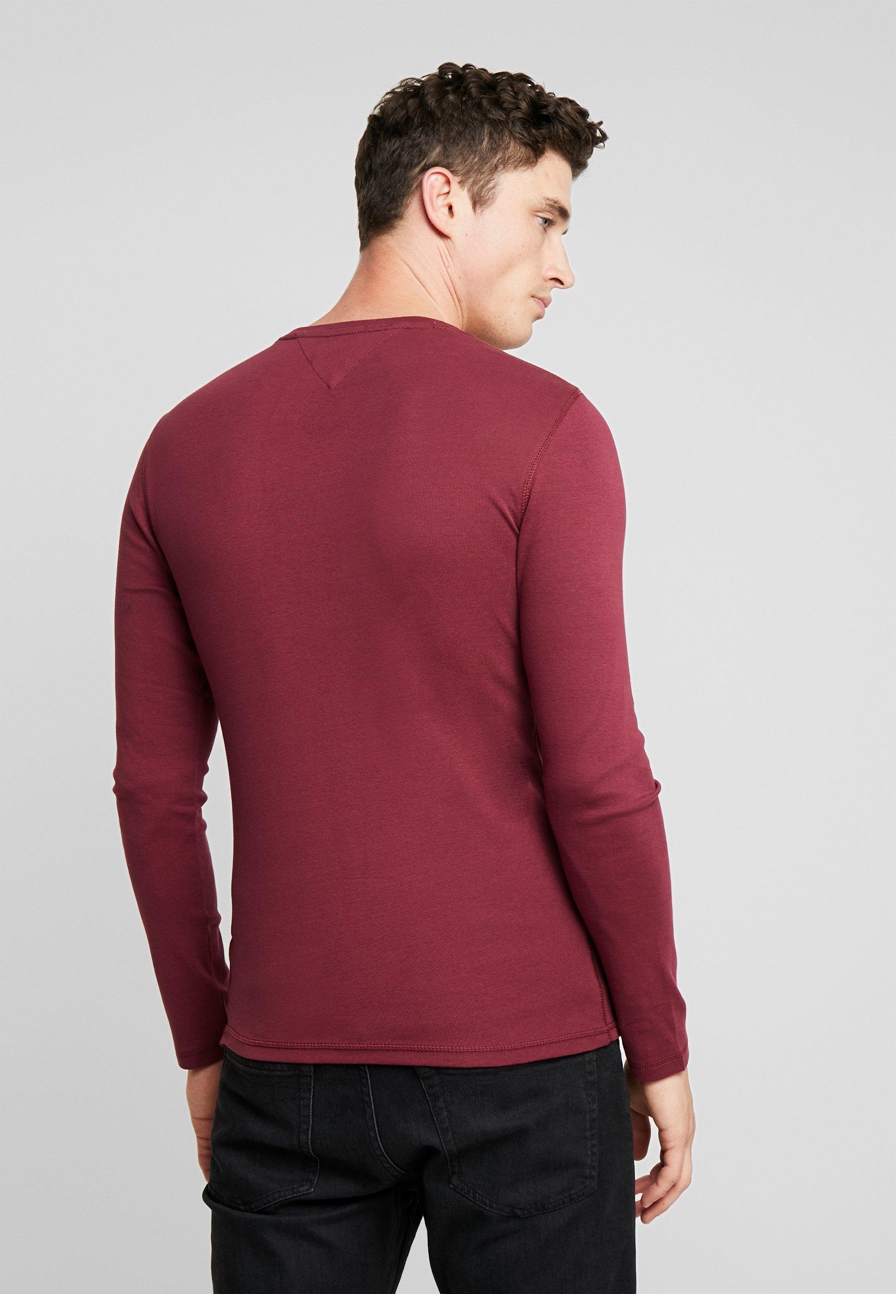 Sleeve TeeT Manches Burgundy Long shirt À Longues Jeans Tommy 0vmwOnyN8