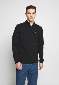 Tommy Jeans - TJM BRUSHED ZIP NECK TEE - Camiseta de manga larga - tommy black - 0