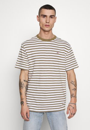 STRIPE TEE - T-shirt con stampa - olive/white
