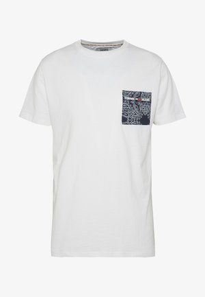 CONTRAST POCKET TEE - T-shirt print - white