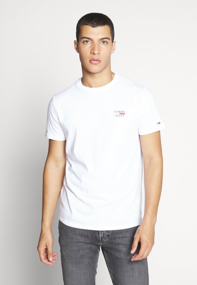 Tommy Jeans - CHEST LOGO TEE - T-shirt - bas - classic white