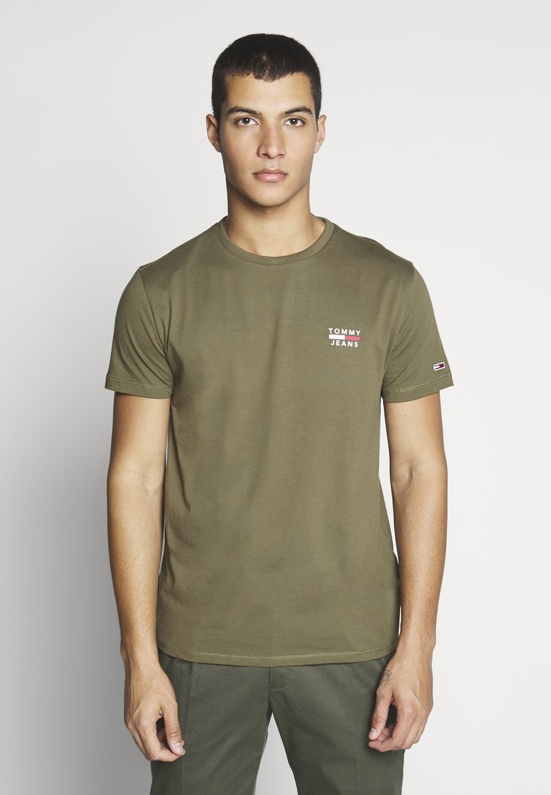 Tommy Jeans - CHEST LOGO TEE - Basic T-shirt - uniform olive
