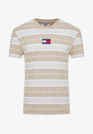 STRIPE LOGO TEE - T-shirt print - stone