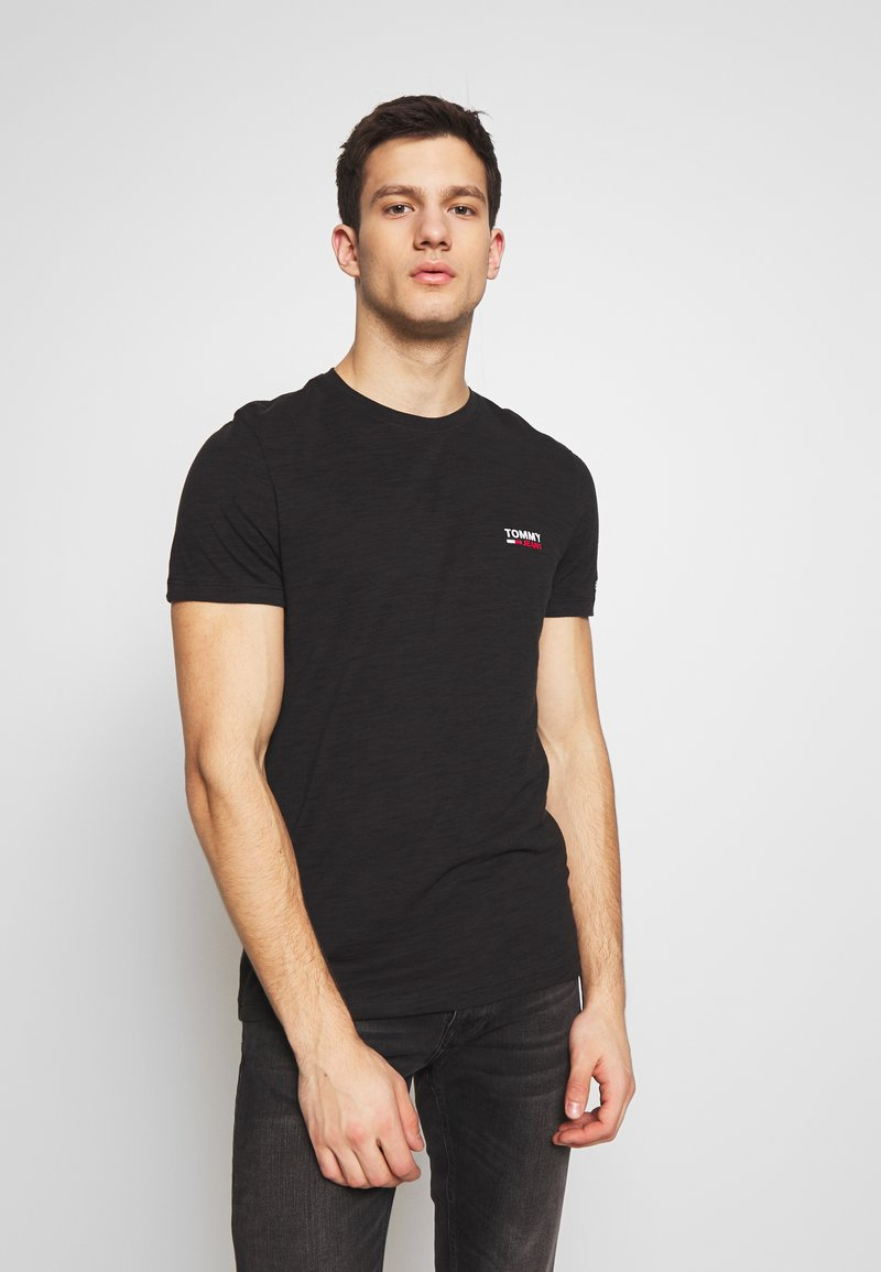 Tommy Jeans - TEXTURE LOGO TEE - T-shirt con stampa - black