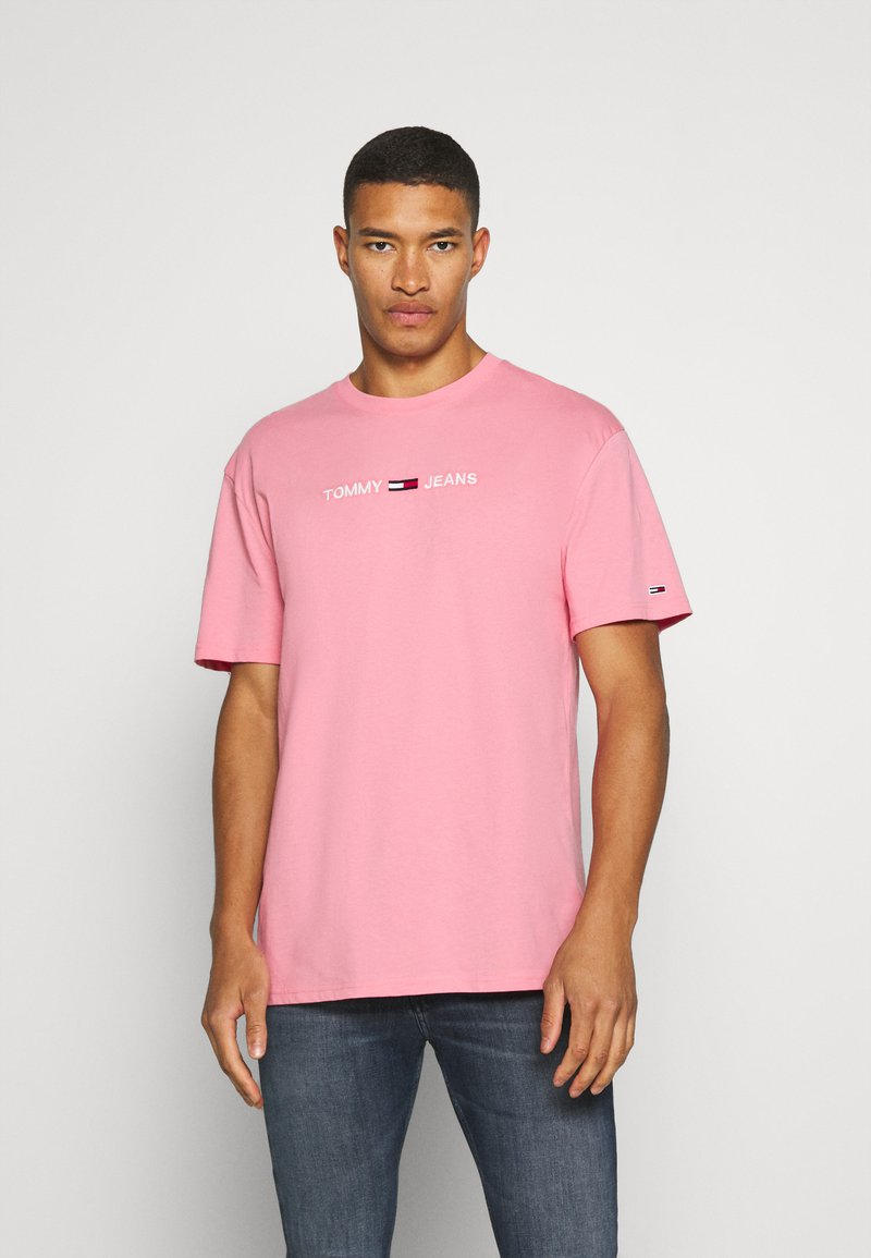 Tommy Jeans - STRAIGHT LOGO TEE - Print T-shirt - rosey pink