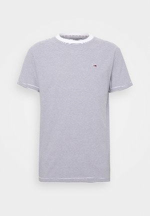 BASIC STRIPE TEE - T-shirt z nadrukiem - white/twilight navy