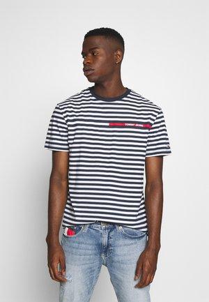 BRANDED STRIPE TEE - Print T-shirt - twilight navy/multi