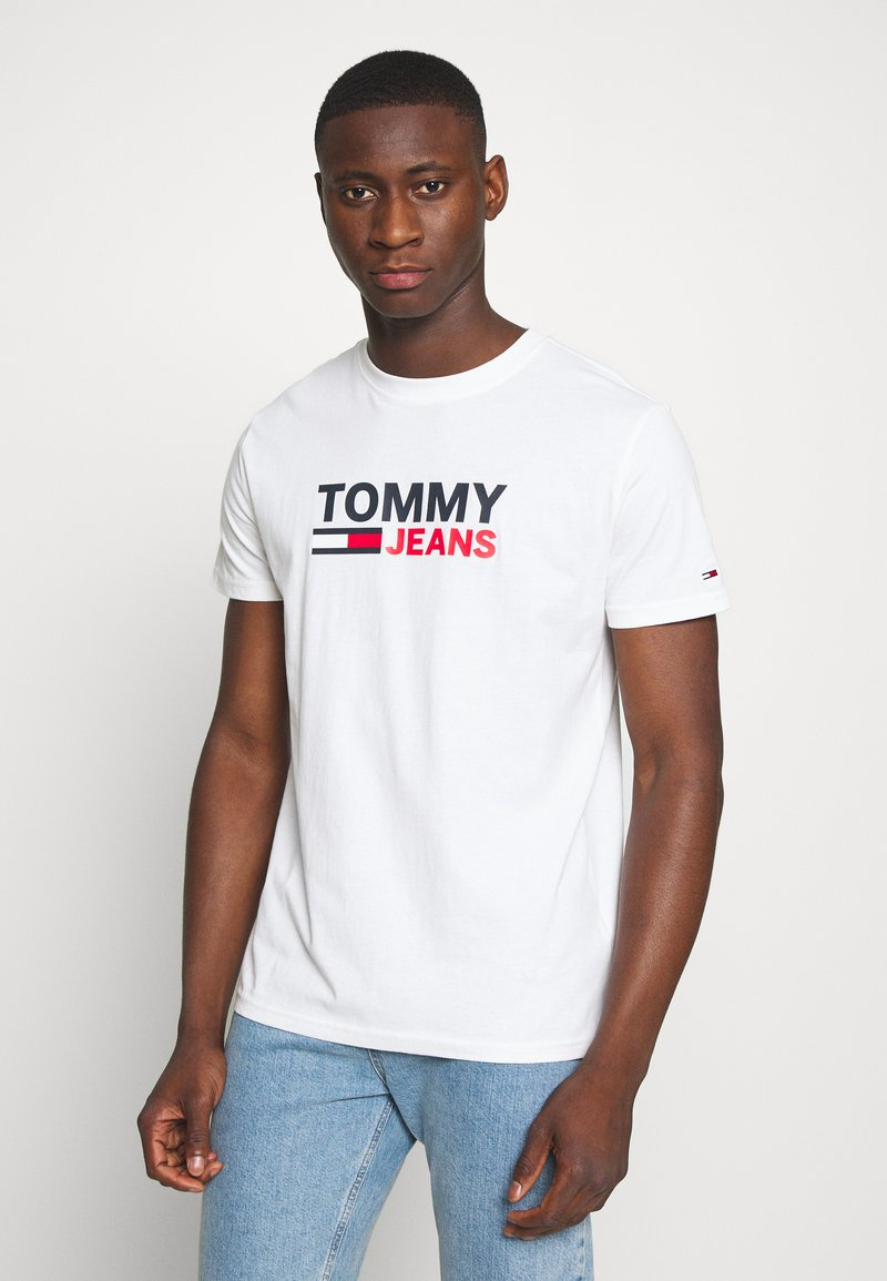 Tommy Jeans - CORP LOGO TEE - Print T-shirt - white