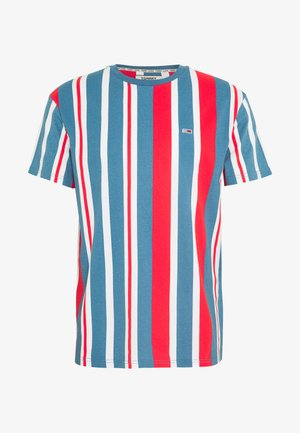 VERTICAL STRIPE TEE - Print T-shirt - white/deep crimson /audacious blue