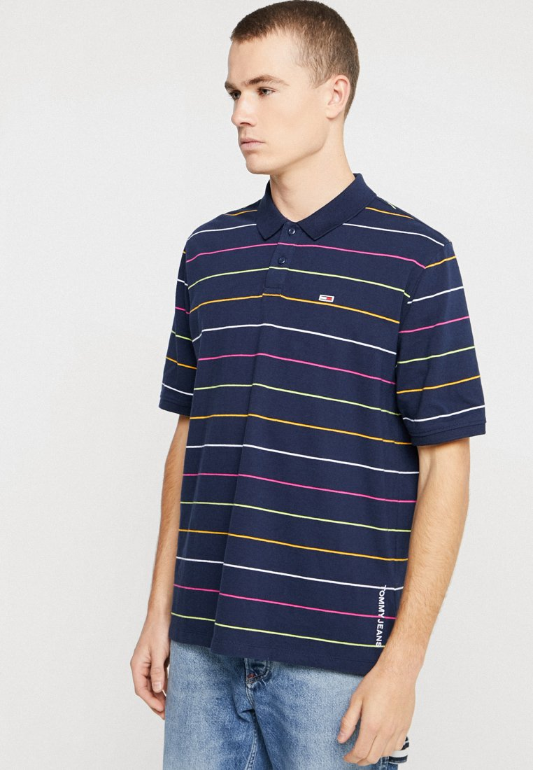 Tommy Jeans - FINE STRIPE - Polo - blue